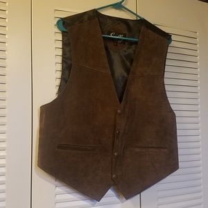 Scully Western Wear Cowboy Leather Satin Vest